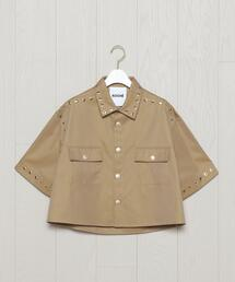<KOCHE>CROPPED EYELETTE SHORT SLEEVE SHIRT/シャツ.