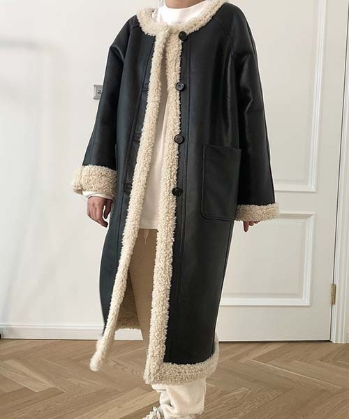 【chuclla】【2021/AW】Round neck PU leather coat chw1472