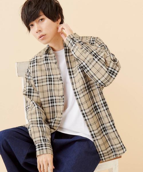 タータンチェックオーバーサイジングL/Sシャツ