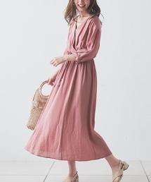 natural couture(ナチュラルクチュール)のタッセルベルト付きカシュクールワンピース(ワンピース)