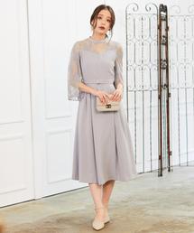 mysty woman(ミスティウーマン)のレースフレア袖ドレス 854657(ドレス)