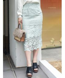 MERCURYDUO(マーキュリーデュオ)のブロッキングケミカルレースタイトスカート(スカート)