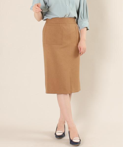 TRUDEA(トルディア)の「【日本製】機能素材 フロントポケットタイトスカート(スカート)」|キャメル