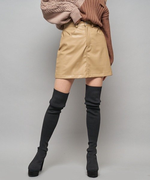 レザーライク台形ミニスカート