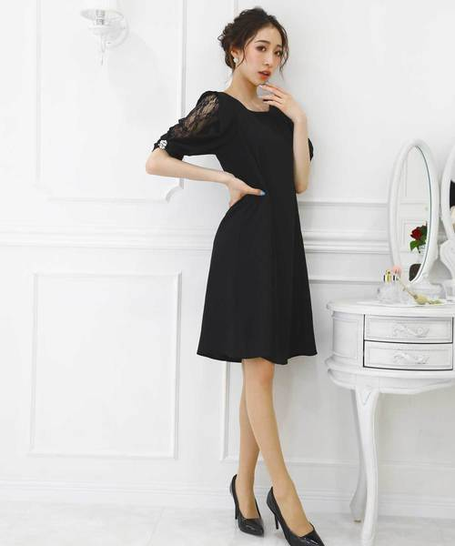flexin(フレキシン)の「【flexin/ フレキシン】 フリル レーススリーブ フレアードレス(ドレス)」 ブラック