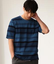 SC インディゴボーダー クルーネック 半袖 Tシャツ ◆