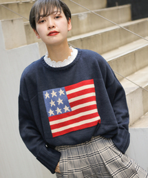 kutir(クティール)の国旗柄ニットプルオーバー(ニット/セーター)