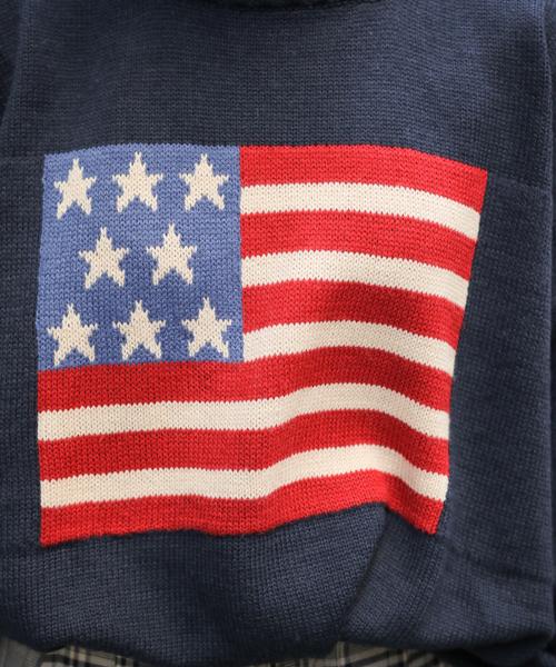 国旗柄ニットプルオーバー