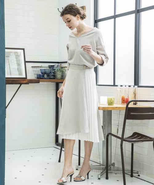 【STYLEBAR】Vネックラッププリーツドレス