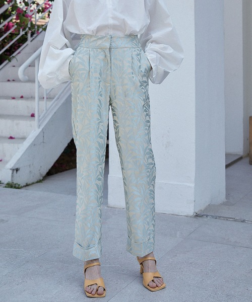 【chuclla】【2021/SS】Jacquard high-waist pants chwt4