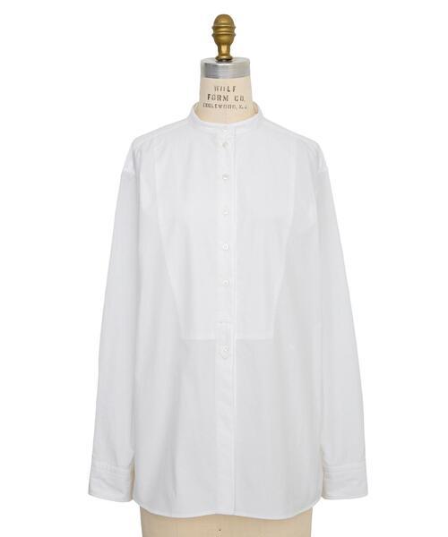 <Drawer(ドゥロワー)> コットンブザムスタンドカラーシャツ