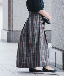 メモリー チェック ギャザー スカート