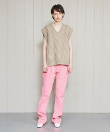 <WE11DONE>CABLE V NECK VEST/ベスト.