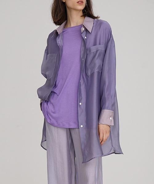 【UNSPOKEN】Sheer long shirt FAZ19234
