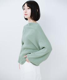 haco!(ハコ)のシルク混素材のぷっくり袖リブニット(ニット/セーター)