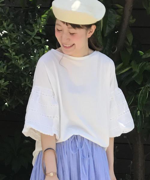 【WEB限定復刻・ネイビー新色】レースバルーンスリーブTシャツ