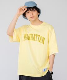 USAコットンフェイクレイヤードカレッジプリントTシャツ