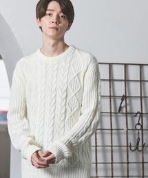オーバーサイズアラン編みクルーネックケーブルニットセーター2019-2020WINTER(MONO-MART)オフホワイト