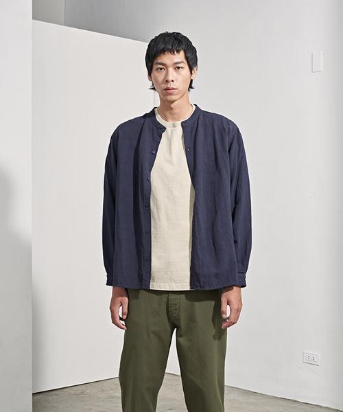 plain-me バンドカラーリネンワイドシャツ
