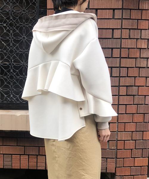【Eimee Law】フリルデザインボンディングパーカー