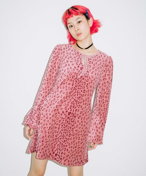 X-girl(エックスガール)の「LEOPARD PUFF SLEEVE DRESS(ワンピース)」|ピンク