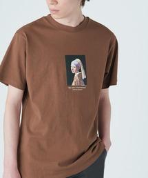 別注プリントART 半袖 Tシャツ/ビッグシルエット アートプリントカットソー/グラフィック カットソー/GIRL WITH A PEARL EARING/VINCENT WILLEM VAN GOGH/THE LAST SUPPERブラウン系その他2