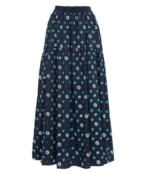 <Drawer(ドゥロワー)> コットンシルクエンブロダイリースカート