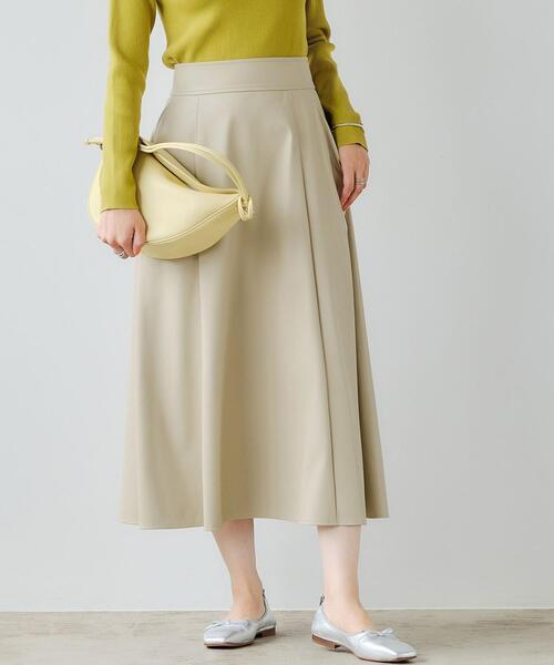 フェイクレザー フレア スカート