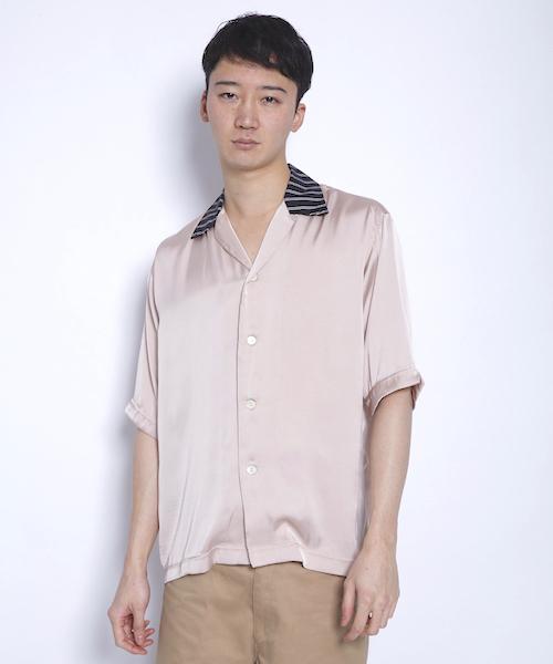RIPP(リップ)の「[RIPP /リップ] バイカラー開襟シャツ(シャツ/ブラウス)」|ピンク