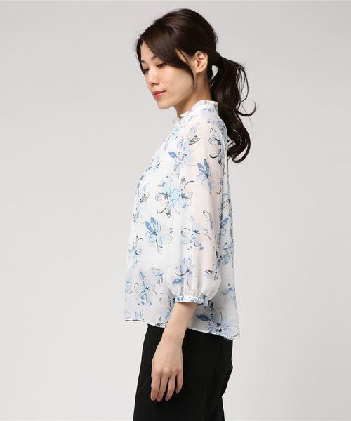 【Mixing blue】淡彩フラワー楊柳プリント フレアスタンドブラウス
