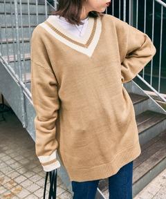 【BASQUE -enthusiastic design-】オーバーサイズ Vネック チルデン セーター