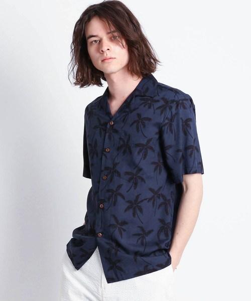 Dessin(デッサン)の「TWO PALMS ヤシの木柄アロハシャツ(シャツ/ブラウス)」|ブラック系