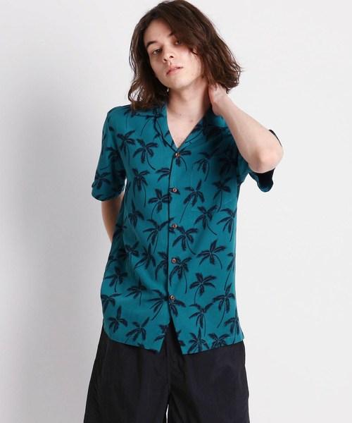 Dessin(デッサン)の「TWO PALMS ヤシの木柄アロハシャツ(シャツ/ブラウス)」|ブルー系