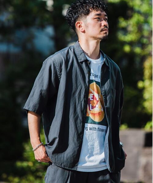 < 機能 / 手洗い可 > ウォッシャブル TWLNN ワイドカラー 半袖 シャツ