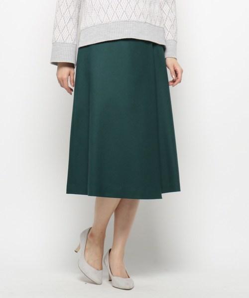Modify(モディファイ)の「ハイカウントフラノ スカート(スカート)」|モスグリーン