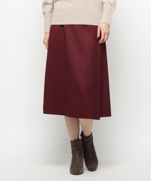 Modify(モディファイ)の「ハイカウントフラノ スカート(スカート)」|ボルドー
