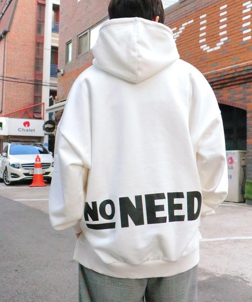 NO NEED(ノーニード)の「ビッグシルエットエッセンシャルバックプリント&ワンポイントロゴスウェットパーカー【韓国ストリートファッション】(パーカー)」 ホワイト