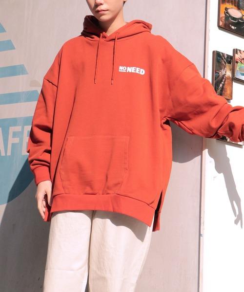 NO NEED(ノーニード)の「ビッグシルエットエッセンシャルバックプリント&ワンポイントロゴスウェットパーカー【韓国ストリートファッション】(パーカー)」 詳細画像