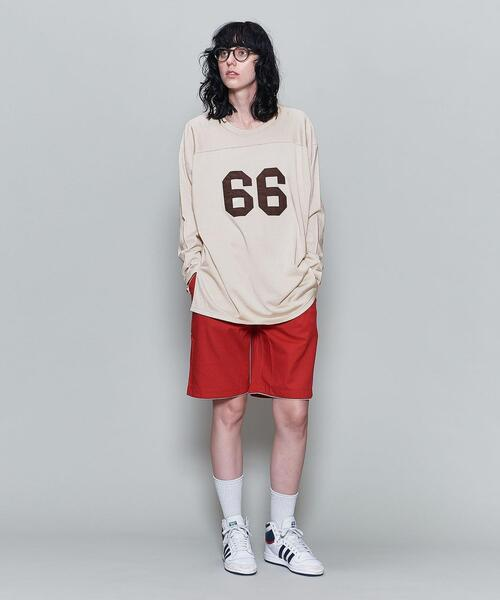 <6(ROKU)>RAYON COTTON FOOT BALL T-SHIRT/Tシャツ ∴