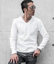 JOKER(ジョーカー)のラインストーン テレコVネック カットソー 長袖Tシャツ ロンT 長袖シャツ(Tシャツ/カットソー)