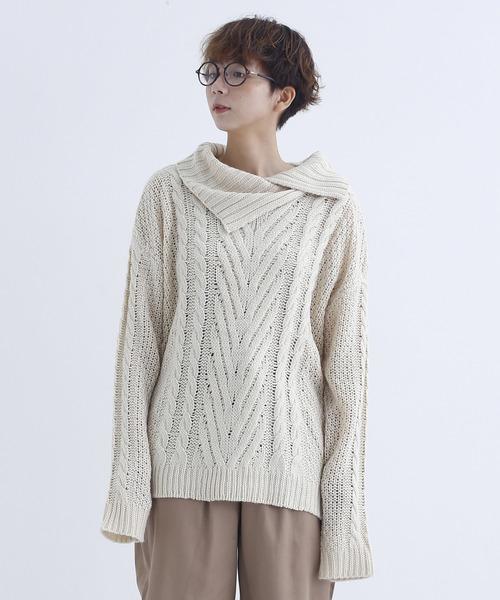 変形襟ニットセーター1730