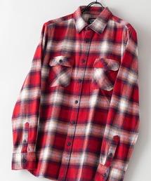 綿100% 厚手ネルチェックシャツレッド