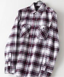 綿100% 厚手ネルチェックシャツホワイト