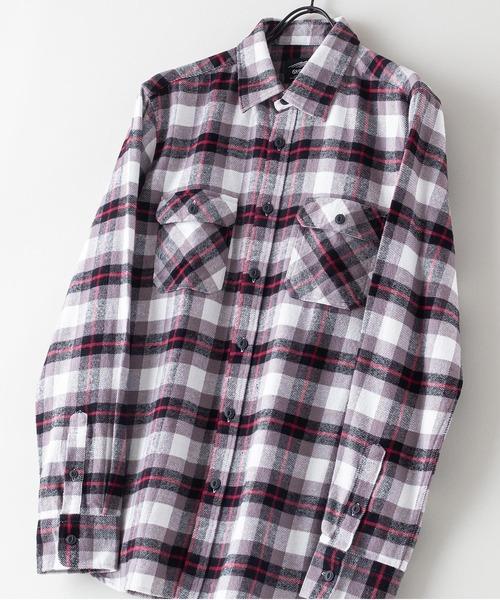 綿100% 厚手ネルチェックシャツ