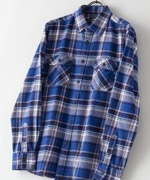 綿100% 厚手ネルチェックシャツブルー