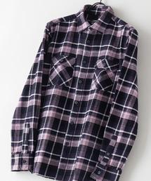 綿100% 厚手ネルチェックシャツブラック