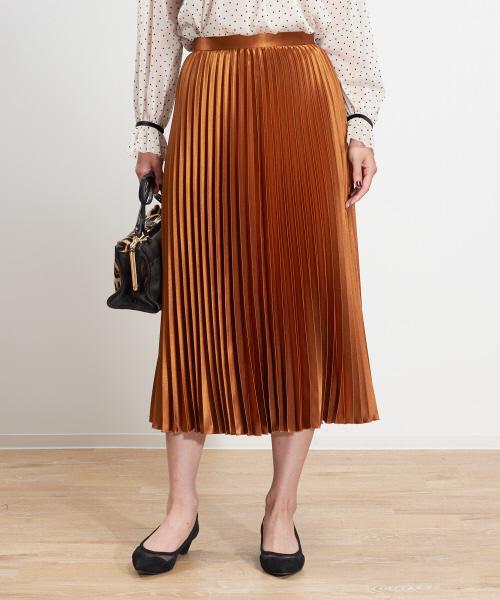 FONCE(フォンセ)の「サテンプリーツスカート(スカート)」|オレンジ系その他