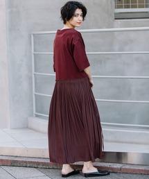 29b410bd89a9a Munich(ミューニック)の「Tシャツ×デシンプリーツスカート異素材切替え