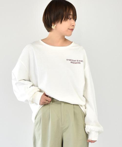 ロゴ刺繍ロンTee
