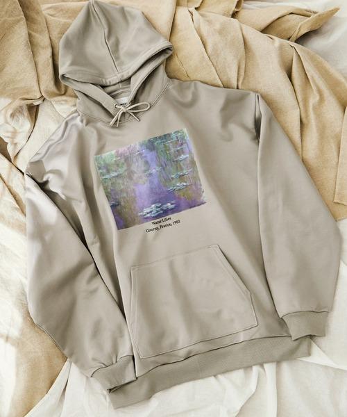 ART×EMMA CLOTHES別注 アート転写プリントビックシルエットプルオーバーパーカー/Claude Monet
